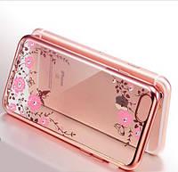 Чехол с цветами и стразами iPhone 7 plus (5.5) с глянцевым бампером Розовый золотой/Розовые цветы
