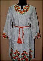 Платье с длинным рукавом Чорнобривці льон