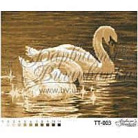 Бисерная заготовка для вышивки схемы-картины Лебеди (сепия)
