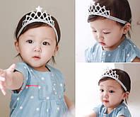 Повязка на голову Корона для  маленькой девочки серебристая