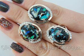 Комплект серебряных украшений с гелиотисом - кольцо и серьги 925 пробы