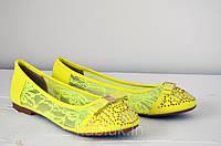 Очень стильные и яркие женские балетки желтого цвета!