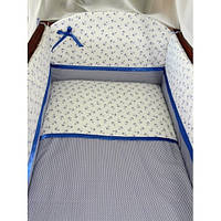 """ДБ033/2 Спальний набір у дитяче ліжко комбінований """"Морячок"""" 7 предметів (без ковдри і подушки)"""