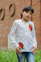 Модная детская белая  рубашка  с аппликацией Роза