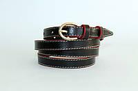 Кожаный женский ремень 13 мм чёрный красные края белая строчка