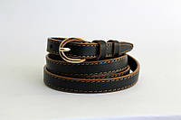 Кожаный женский ремень 13 мм коричневые края коричневая строчка пряжка золотая