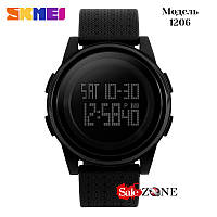 Гарантия! Подарок! Часы skmei 1206 черные с темным дисплеем