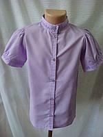 Классическая блузка для девочки с коротким рукавом сиреневая
