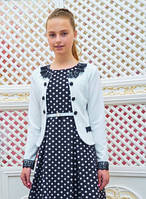 Подростковый школьный белый пиджак с кружевом, р. 134-152