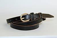 Кожаный женский ремень 13 мм гладкий коричневые края пряжка золотая