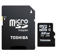 Карта памяти TOSHIBA 32 GB microSDHC Class 10 UHS-I, R: 90 Mb / s; W: 30 Mb / s, SD адаптер (THN-M302R0320EA)