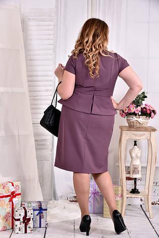 Платье с баской больших размеров 0555 бисквит, фото 2