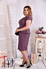 Платье с баской больших размеров 0555 бисквит, фото 3