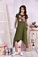 Удобное платье для полных женщин 0558 хаки