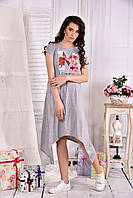 Удобное платье для полных женщин 0558 серое