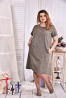 Платье с карманами прямое sizeplus 0560 меланж
