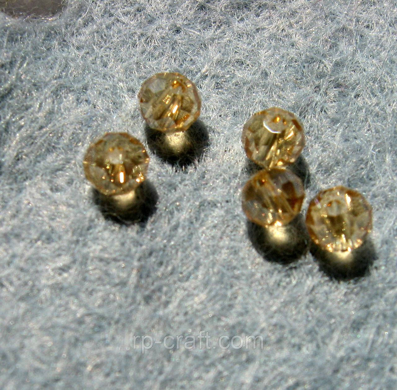 Намистина скляна, 3х4 мм, медова