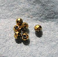 Бусина стеклянная, 3х4 мм, золотая