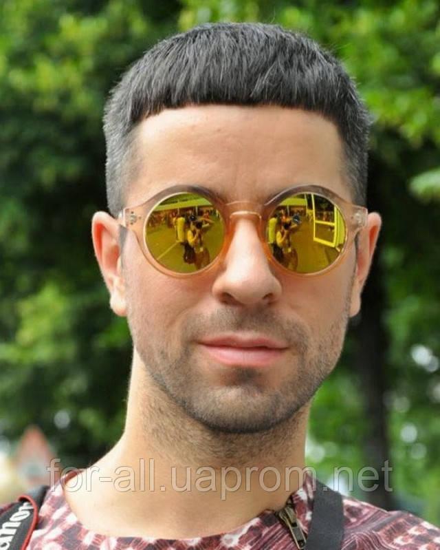 Мужские солнцезащитные очки зеркальные, круглые 2014