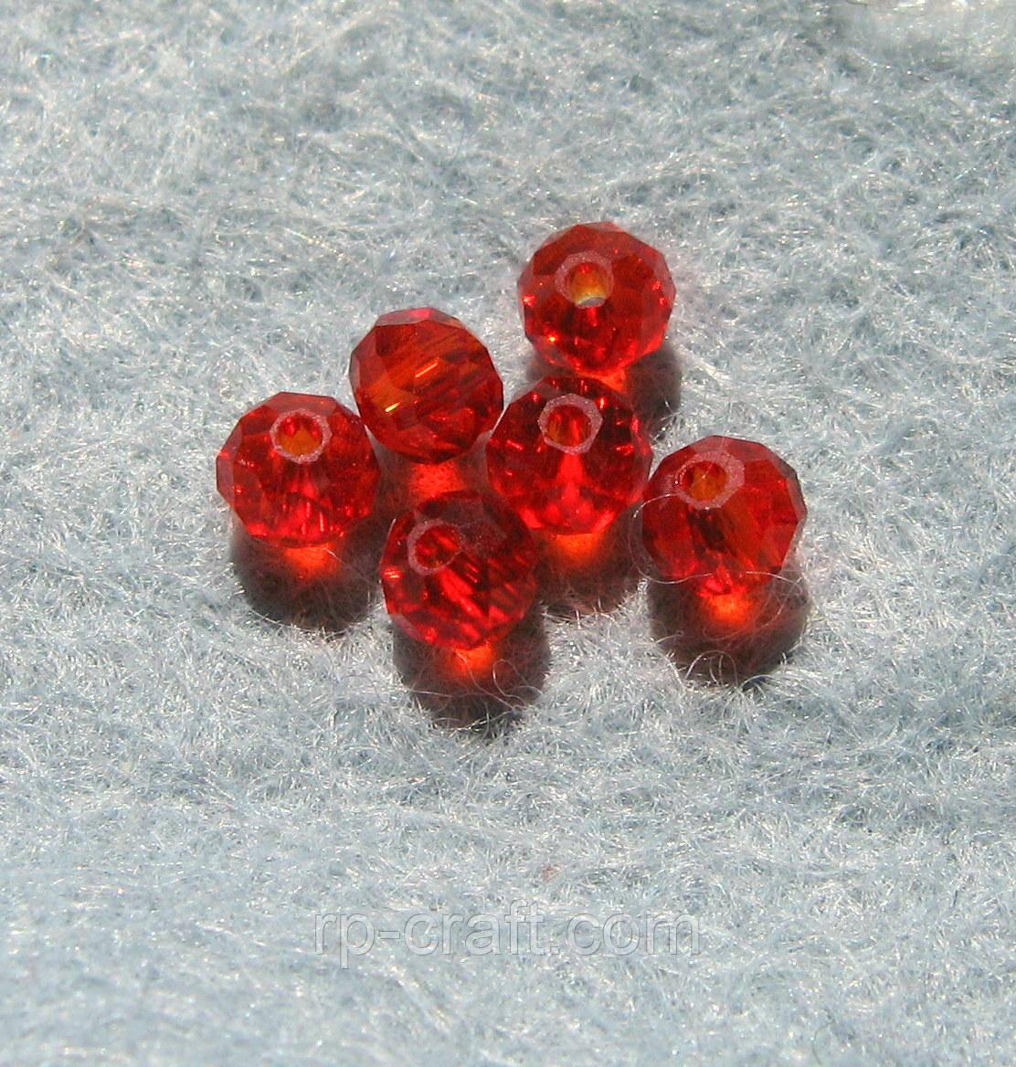 Бусина стеклянная, 4х4 мм, красная