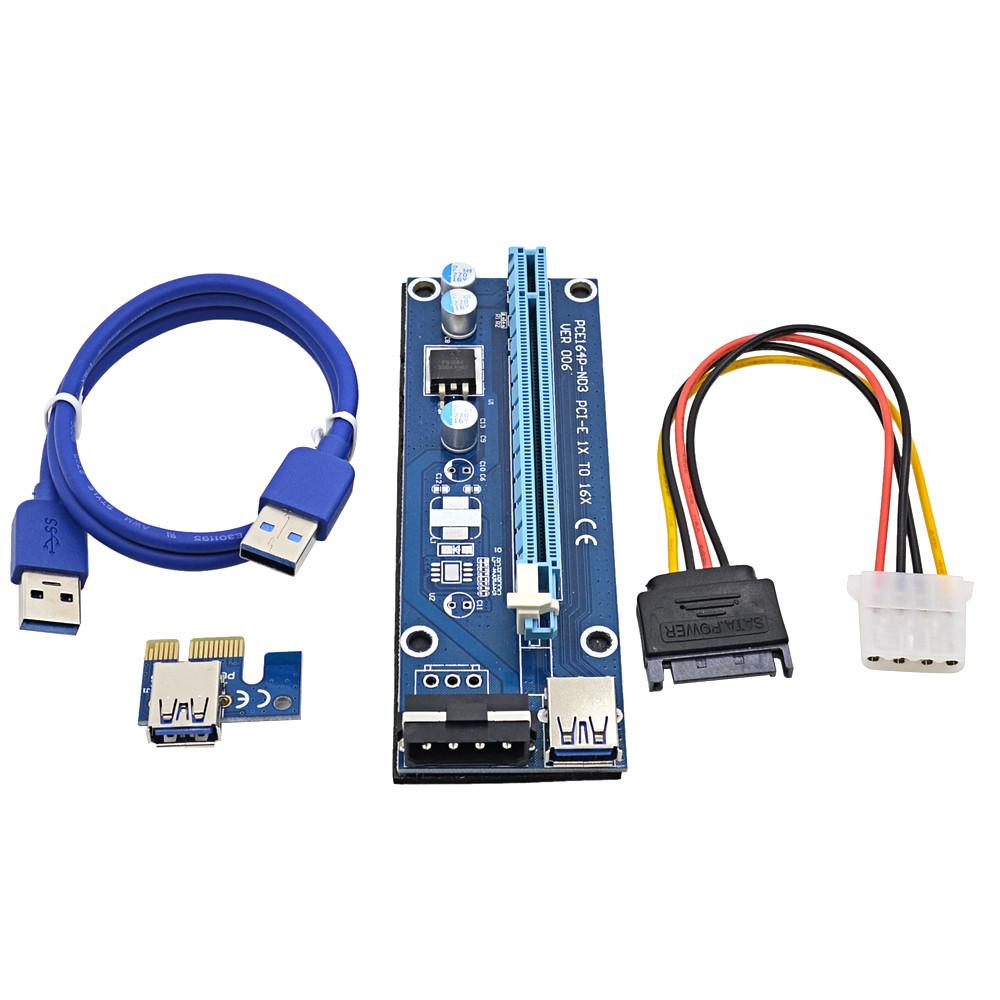 Райзер v007 USB 3.0 PCI-E 1X - 16X Riser для видеокарт 60см molex sata молекс сата майнинг 1060 470 580 480