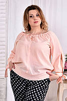 Легкая блузка для полных женщин 0546 персик