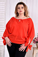 Легкая блузка для полных женщин 0546 коралл