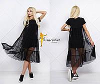 Оригинальное, женское, летнее, молодежное платье-миди (вискоза и элостичная микро-сеточка) 42-60р РАЗНЫЕ ЦВЕТА