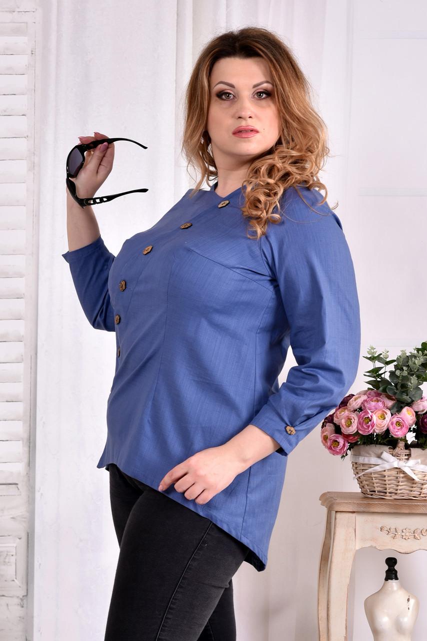 aa3d917b0d4 Блузка из льна для полных женщин 0541 синяя