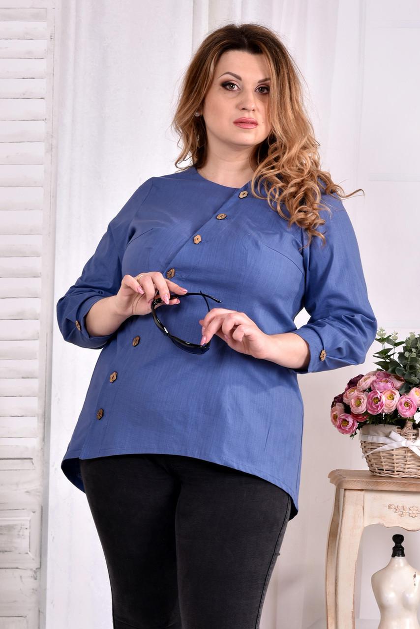 3d7b351a125 Блузка из льна для полных женщин 0541 синяя - V Mode