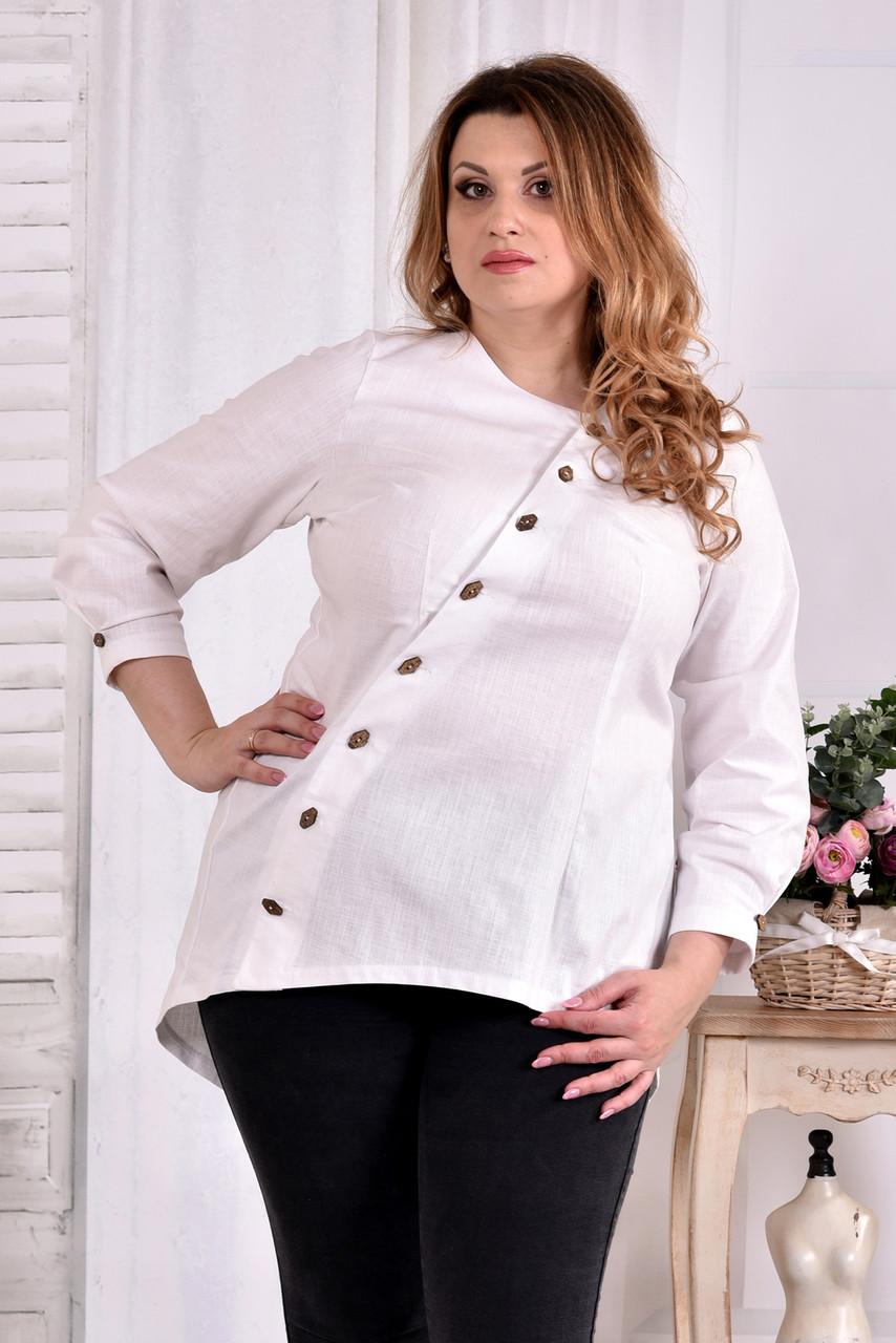 63a1d57d88a Блузка из льна для полных женщин 0541 молоко - V Mode