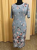 Платье женское с цветами батал