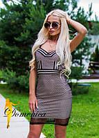 Эффектное, женское, силуэтное мини-платье на бретелях с чашечками (сетка и микро-дайвинг)  42-60р РАЗНЫЕ ЦВЕТА
