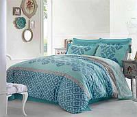 Евро комплект постельного белья из сатина Турция голубой бирюзовый bb1bc076b9d12