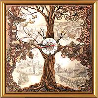 """Набор для создания часов с вышитой бисером и крестом основой """"Дерево-часы"""""""