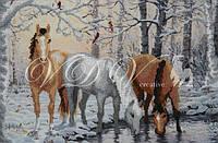 """Схема для вышивания бисером ''Лошади зимой"""""""