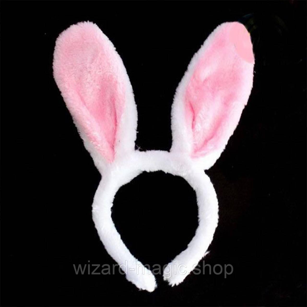 Уши Зайца меховые белые с розовым