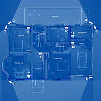 IP видеонаблюдение 12 камер (2 Мп) для частного дома