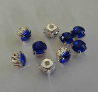 Камни  пришивные, синие, диаметр 9 мм.
