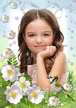 Картина с фото в цветочной рамке