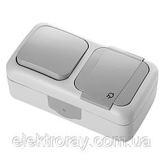 Блок горизонтальный Розетка с заземлением + Выключатель серый Viko Palmiye