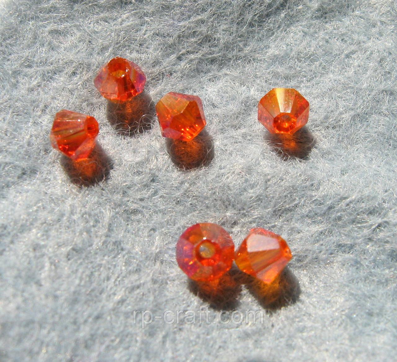 Бусина стеклянная, 4х4 мм, биконус Сваровски, оранжевая АВ