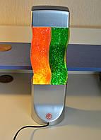Лава лампа с блестками волнистая, двойная, высота 42 см.