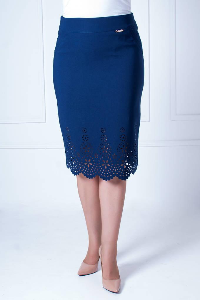 Женская Юбка Лина с перфорацией синяя