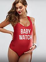"""Купальник для беременных сдельный красный  с надписью """"Baby watch, фото 1"""