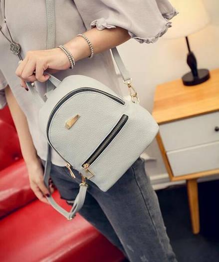 Городской женский мини-рюкзак серый