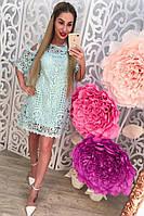 Женское летнее платье котон и гипюр
