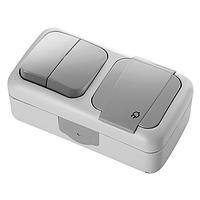 Блок горизонтальный Розетка с заземлением + Выключатель двухклавишный белый, серый Viko Palmiye