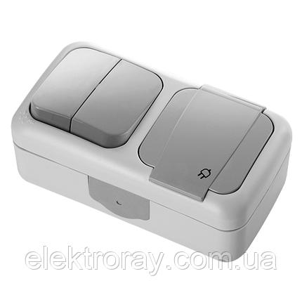 Блок горизонтальный Розетка с заземлением + Выключатель двухклавишный серый Viko Palmiye, фото 2
