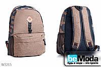 Вместительный городской рюкзак с принтом KissMe коричневый